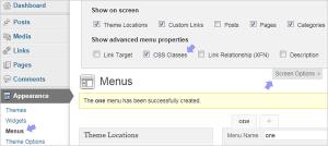 View CSS Classes option while creating menus in WordPress