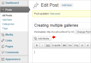 Create & add multiple Image galleries in WordPress posts