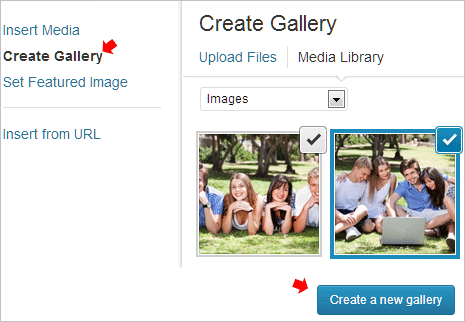 wordpress-create-gallery