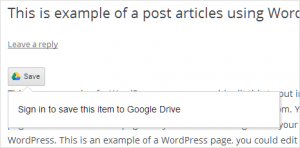Add Save to Google Drive button on WordPress website