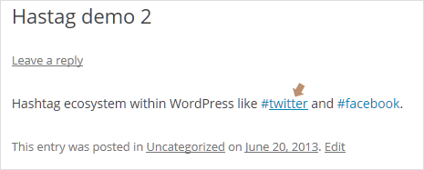 clickable hashtags on wordpress website like twitter and facebook