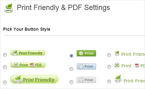 PrintFriendly button options