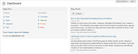 see rss feed updates in wordpress dashboard