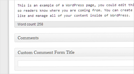 Post editor option for changing comment form title