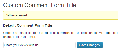 Custom Comment Form Title Options
