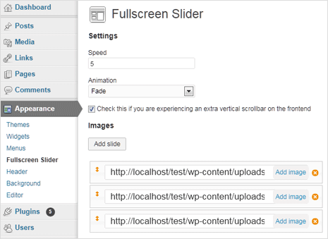 fullscreen background image slider for wordpress website