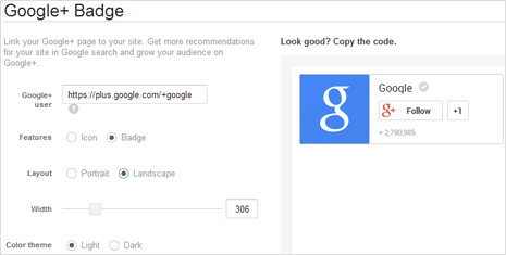 Google Plus badge in landscape mode