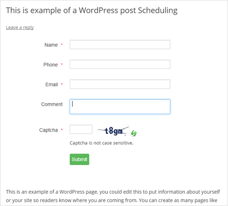 add responsive contact us form in wordpress post or page