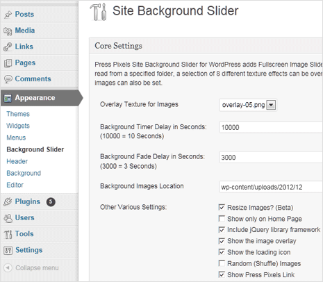 wordpress site background image slider plugin