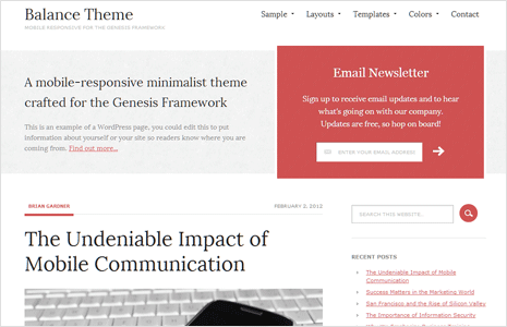 balance wordpress theme for genesis