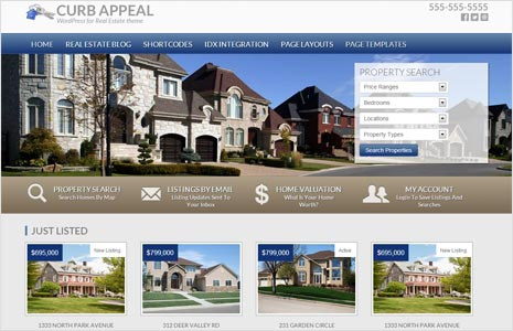 curb appear real estate genesis wordpress theme with big center photo