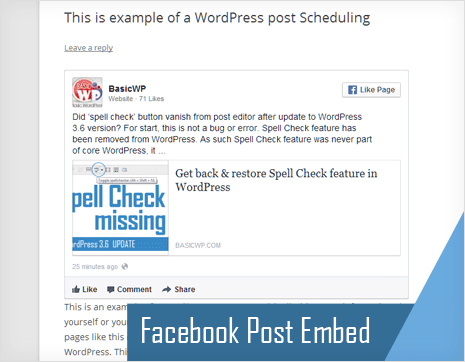 display of facebook posts on wordpress site