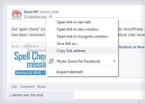 copy url of facebook post for embedding