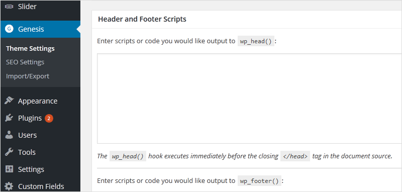 Genesis Header Footer Scripts