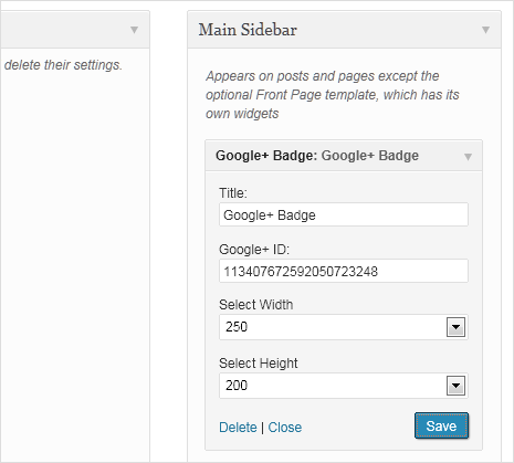 google plus badge widget setting in wordpress
