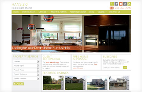 hans real estate genesis child theme for wordpress with colorful layout