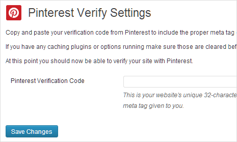 verify pinterest plugin settings