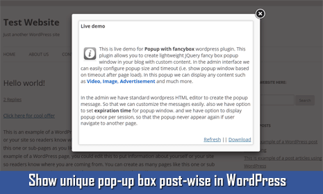 pop-up message box in wordpress