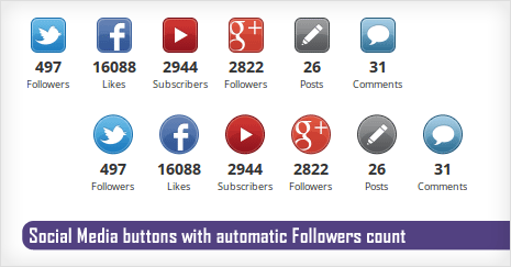 social media buttons with followers count number