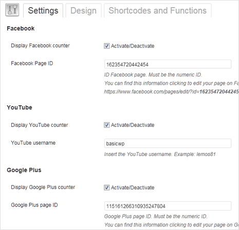 social media count plugin settings