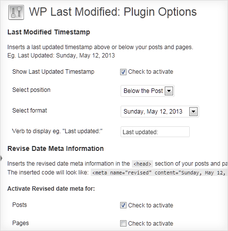 last modified date plugin options