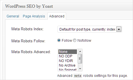 robots meta setting in yoast seo plugin