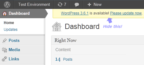 hide wordpress notification alert in the dashboard