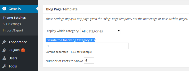 Exclude Category Posts from Genesis Blog Page