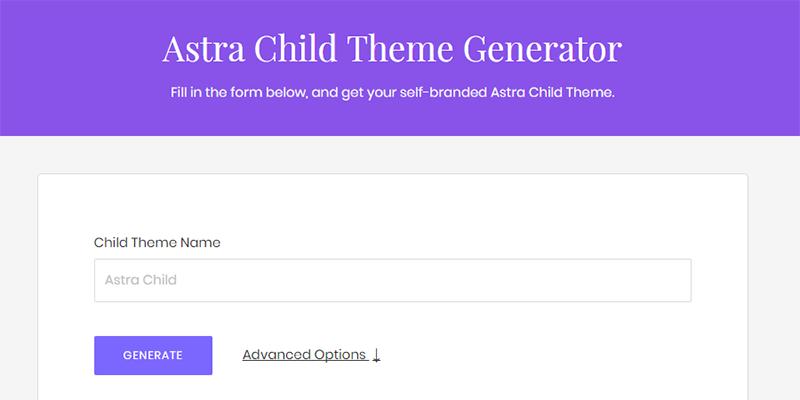 astra child theme generator