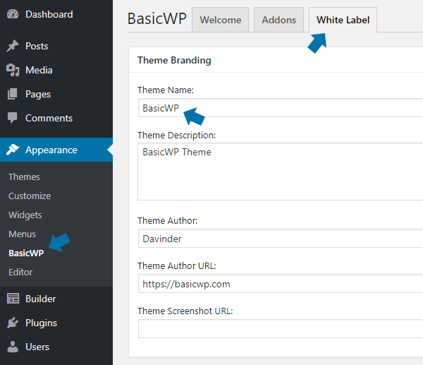 Change Astra theme & plugin name using White Label feature