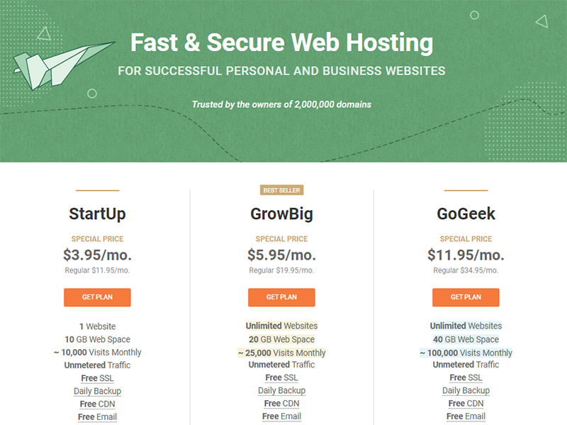 siteground website hosting pricing plans