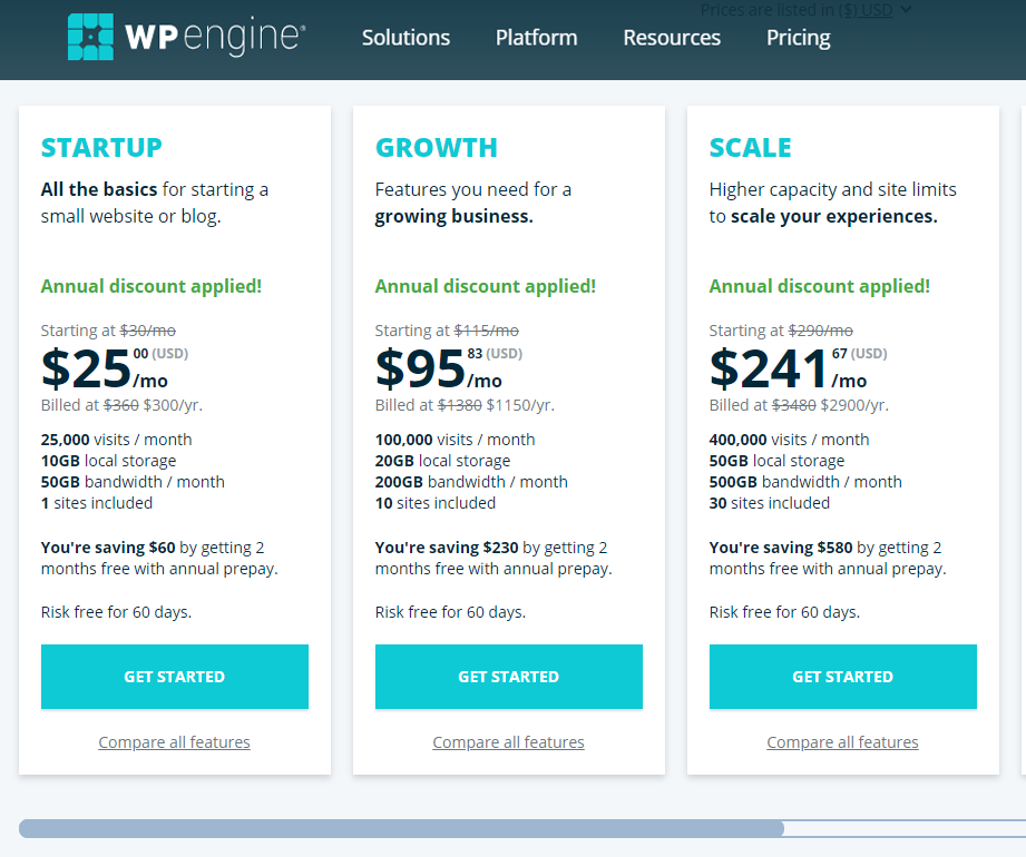 wpengine website hosting plans features