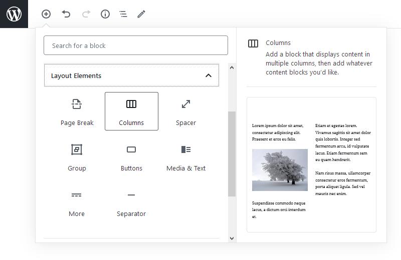 blocks editor columns layout settings