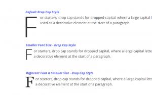 drop cap font size style in paragraph block